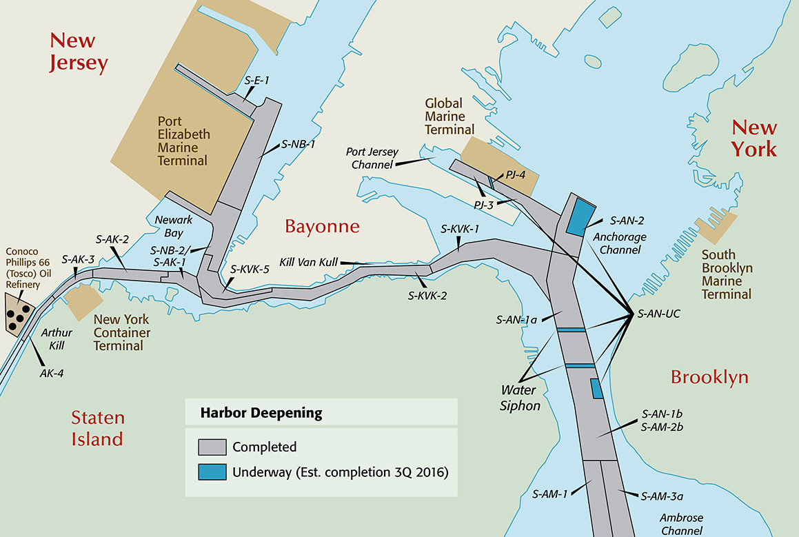 Map Of New York Harbour.In Major Milestone The Harbor Deepening Project Is Completed