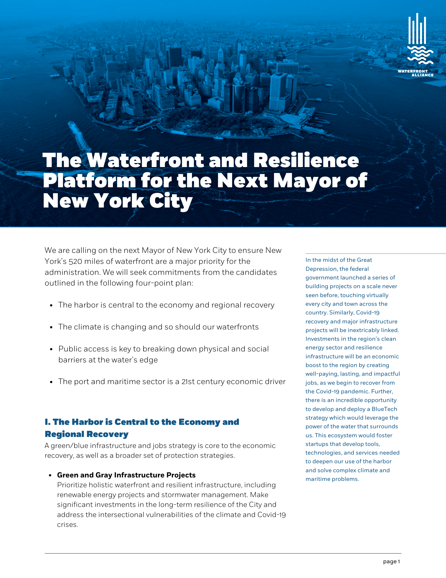 The Waterfront and Resilience Platform for the Next Mayor of New York City